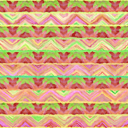 crankle: Native watercolor artistic colorful pattern. Ethnic boho style. Seamless draw tribal square texture. Stock Photo