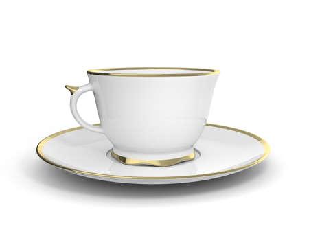 Isolierte antike Porzellan weiße Tasse Tee auf Untertasse mit Gold auf weißem Hintergrund Borte. Vintage-Geschirr. Abbildung 3D.