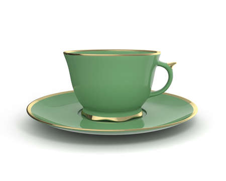 green tea cup: Isolated antique porcelain green tea cup on saucer with gold edging on white background. Vintage crockery. 3D Illustration.