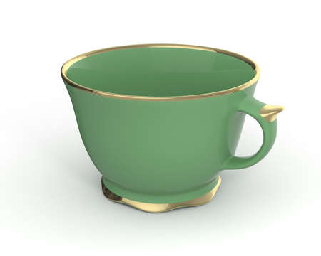 green tea cup: Isolated antique porcelain green tea cup with gold edging on white background. Vintage crockery. 3D Illustration.
