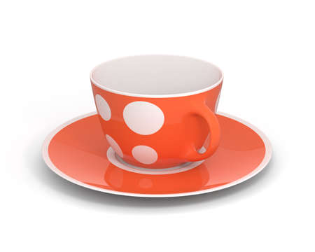 Isolated empty classic porcelain white tea cup on saucer with simple orange pattern on white background. Mockup tableware. 3D Illustration.