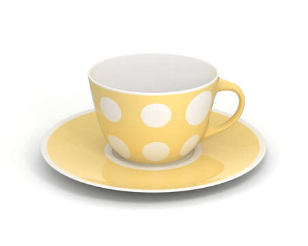 Isolated empty classic porcelain white tea cup on saucer with simple yellow pattern on white background. Mockup tableware. 3D Illustration.