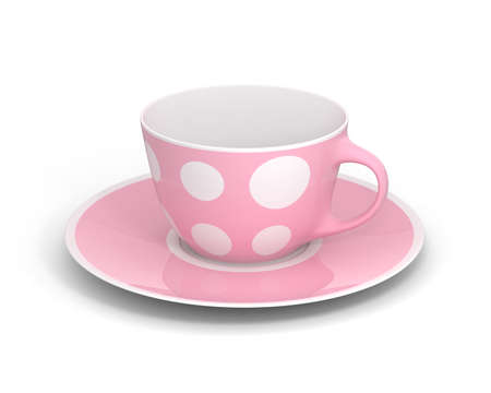Isolated empty classic porcelain white tea cup on saucer with simple pink pattern on white background. Mockup tableware. 3D Illustration.