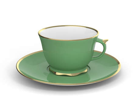 gilt: Isolated antique porcelain green tea cup on saucer with gold edging on white background. Vintage crockery. 3D Illustration.