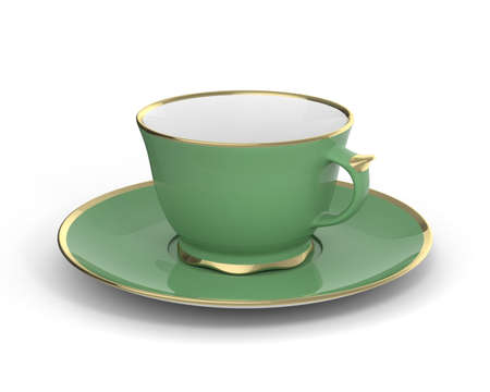 Isolated antique porcelain green tea cup on saucer with gold edging on white background. Vintage crockery. 3D Illustration.