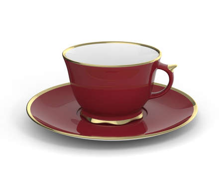 Isolated antique porcelain vinous tea cup on saucer with gold edging on white background. Vintage crockery. 3D Illustration. Standard-Bild