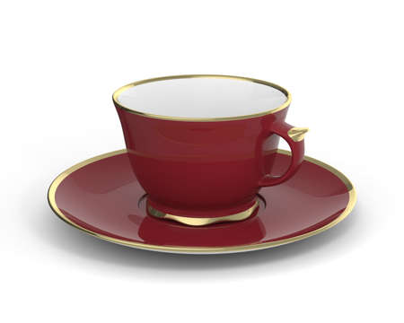Isolated antique porcelain vinous tea cup on saucer with gold edging on white background. Vintage crockery. 3D Illustration. Stock Photo