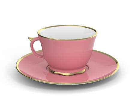 gilt: Isolated antique porcelain pink tea cup on saucer with gold edging on white background. Vintage crockery. 3D Illustration.