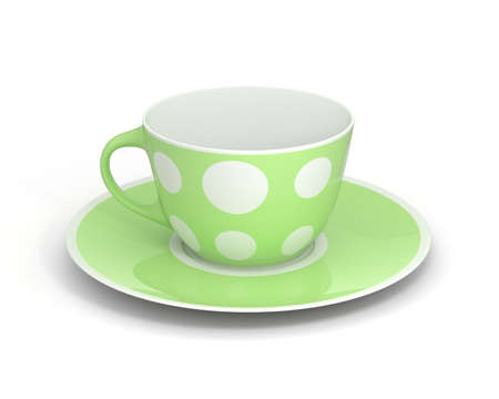Isolated empty classic porcelain white tea cup on saucer with simple green pattern on white background. Mockup tableware. 3D Illustration. Stock Photo