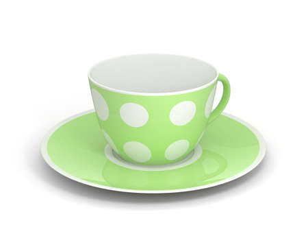 gilt: Isolated empty classic porcelain white tea cup on saucer with simple green pattern on white background. Mockup tableware. 3D Illustration. Stock Photo