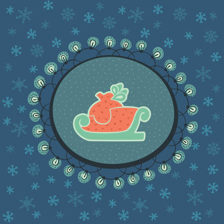 santa sleigh: Christmas and New Year vintage ornate frame with Santa sled with gift sack symbol. Doodle illustration greeting card. Hand drawn background. Illustration