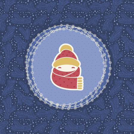 warmly: Christmas and New Year vintage ornate frame with warmly dressed child head symbol. Doodle illustration greeting card. Hand drawn background.