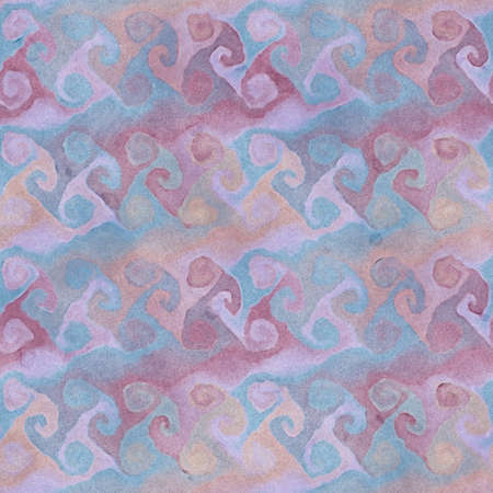 crankle: Native abstract watercolor artistic colorful swirl pattern. Ethnic boho style. Seamless draw tribal square texture.