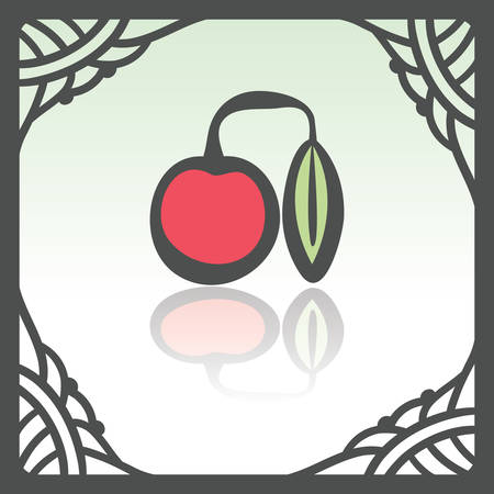 Vector outline cherry fruit food icon in hand drawn frame. Elements for mobile concepts and web apps. Modern infographic logo and pictogram. Illustration