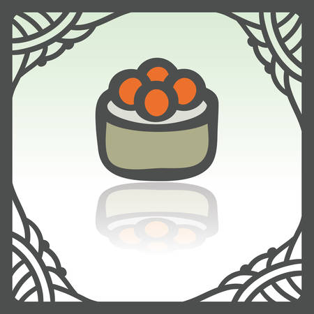 japan food: Vector outline sushi rice roll with raw caviar japan food icon in hand drawn frame. Elements for mobile concepts and web apps. Modern infographic logo and pictogram.