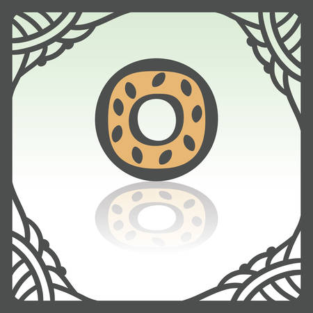 pone: Vector outline sweet donut food icon in hand drawn frame. Elements for mobile concepts and web apps. Modern infographic logo and pictogram. Illustration
