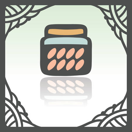 confiture: Vector outline glass pot with jam, preserve, confiture, marmalade, conserve icon in hand drawn frame. Elements for mobile concepts and web apps. Modern infographic logo and pictogram. Illustration