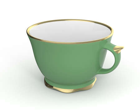 Isolated antique porcelain green tea cup with gold edging on white background. Vintage crockery. 3D Illustration.