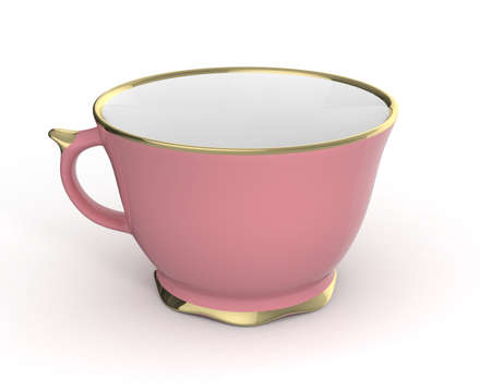afternoon: Isolated antique porcelain pink tea cup with gold edging on white background. Vintage crockery. 3D Illustration.