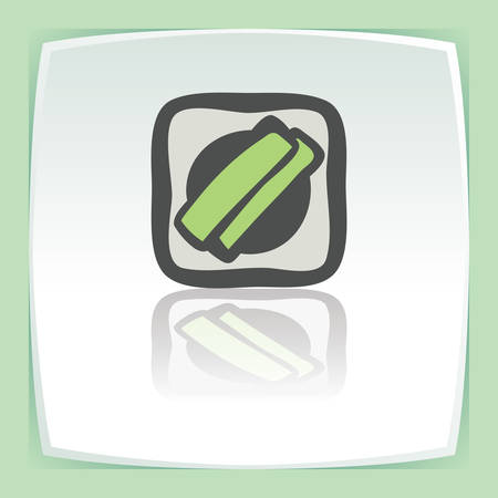 japan food: Vector outline sushi rice roll with green grass and wasabi japan food icon on white flat square plate. Elements for mobile concepts and web apps. Modern infographic logo and pictogram.