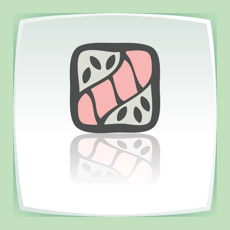 sushi  plate: Vector outline sushi rice roll with raw fish japan food icon on white flat square plate. Elements for mobile concepts and web apps. Modern infographic logo and pictogram.