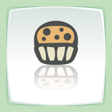 Vector outline cupcake with cream food icon on white flat square plate. Elements for mobile concepts and web apps. Modern infographic logo and pictogram. Illustration