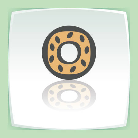 pone: Vector outline sweet donut food icon on white flat square plate. Elements for mobile concepts and web apps. Modern infographic logo and pictogram. Illustration