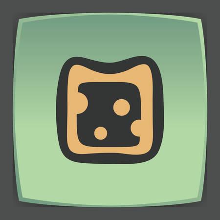 Vectoroverzicht kaas sandwich fruit eten pictogram op groene platte vierkante plaat. Elementen voor mobiele concepten en web-apps. Modern infographic logo en pictogram.