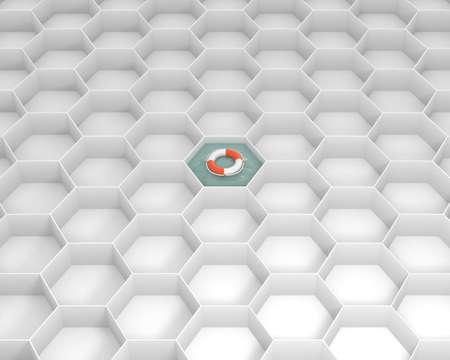 Witte zeshoekcellen met Life Saver-boei aan het zwembadwater. Levensring drijvend op het zeewater. Concept en ideemodel 3d beeld als achtergrond. Stockfoto