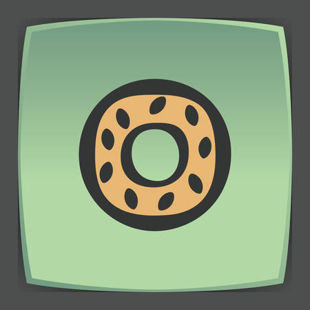 food plate: Vector outline sweet donut food icon on green flat square plate. Illustration