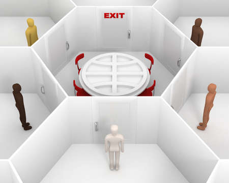 team from behind: Five people with different skin colors standing front of door, around hexagonal closed white room with round table with Earth symbol, chairs and closed door with red exit text sign. 3D Illustration