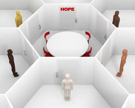 team from behind: Five people with different skin colors standing front of door, around hexagonal closed white room with round table, chairs and closed door with red hope text sign to discuss. 3D Illustration Stock Photo