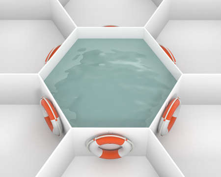 Six Life Saver buoy hanging at hooks around white hexagon cells with pool water. Life rings are willing to salvation. Concept and idea mockup background 3d image. Stok Fotoğraf - 73278685