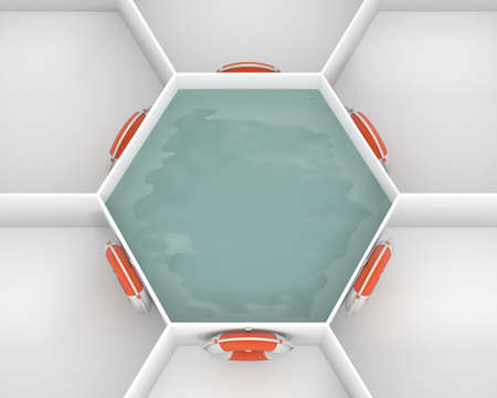 Six Life Saver buoy hanging at hooks around white hexagon cells with pool water. Life rings are willing to salvation. Concept and idea mockup background 3d image. Stok Fotoğraf - 73347017