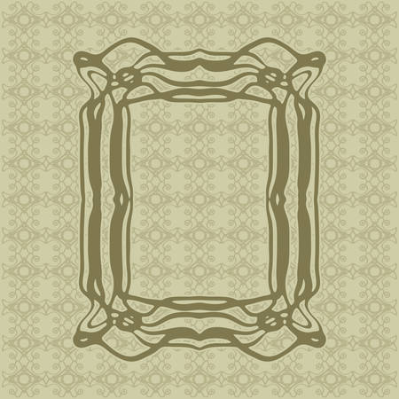 moulding: Art Nouveau elegant smooth lines decorative vector frame for design. Art Deco style fine border ornament Illustration