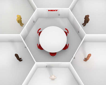 Five people with different skin colors standing front of door, around hexagonal closed white room with round table, chairs and closed door with red next text sign to discuss. 3D Illustration