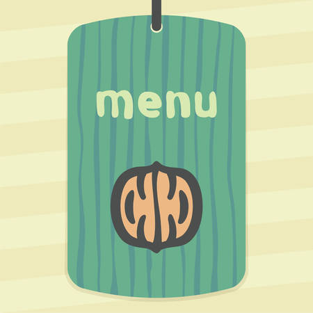 Vector outline walnut food icon on label with hand drawn stripped background. Elements for mobile concepts and web apps. Modern infographic.
