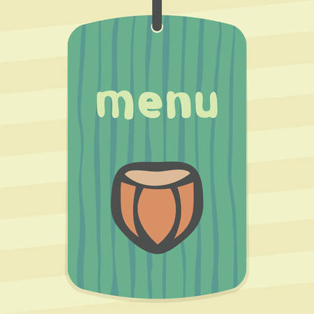 Vector outline hazelnut food icon on label with hand drawn stripped background. Elements for mobile concepts and web apps. Modern infographic.