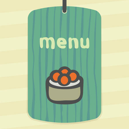 spawn: Vector outline sushi rice roll with raw caviar japan food icon on label with hand drawn striped background. Modern infographic logo and pictogram.