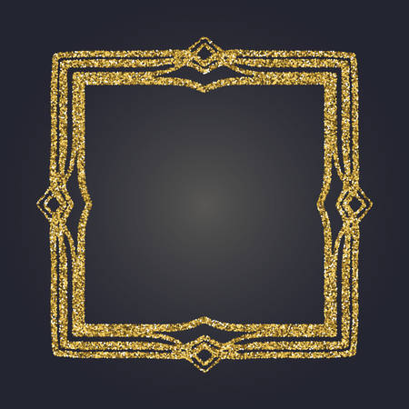 moulding: Art Nouveau gold glitter elegant smooth lines decorative rectangle vector frame for design.
