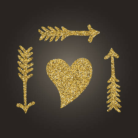 A brilliant gold glitter in the form of a hand drawn love heart symbol. Elegant decoration of gold round sequins. A small scattering of gold circles in the heart shape Illustration
