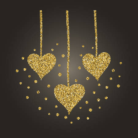 A brilliant gold glitter in the form of a hand drawn love heart symbol. Illustration