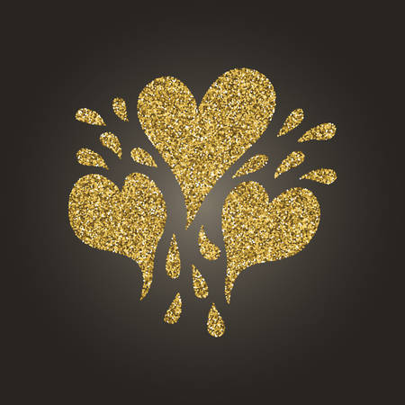 sequins: A brilliant gold glitter in the form of a hand drawn love heart symbol. Elegant decoration of gold round sequins. A small scattering of gold circles in the heart shape Illustration