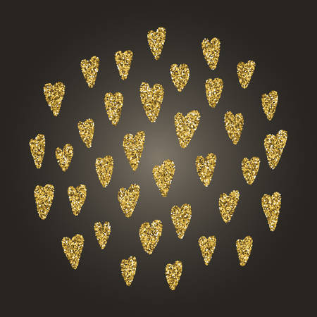 diffuse: A brilliant gold glitter in the form of a hand drawn love heart symbol. Elegant decoration of gold round sequins. A small scattering of gold circles in the heart shape Illustration