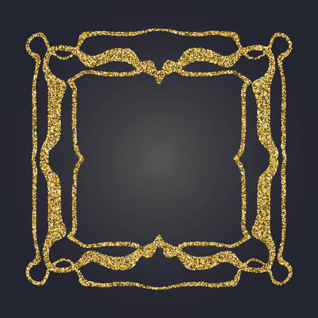 moulding: Art Nouveau gold glitter elegant smooth lines decorative rectangle vector frame for design. Art Deco style fine border ornament