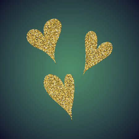 diffuse: A glamour brilliant gold glitter in the form of a hand drawn love heart symbol. Elegant decoration of gold round sequins. A small scattering of gold circles in the heart shape