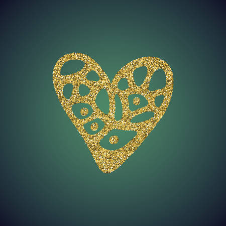 sprite: A glamour brilliant gold glitter in the form of a hand drawn love heart symbol. Elegant decoration of gold round sequins. A small scattering of gold circles in the heart shape