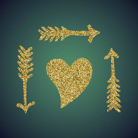 sprite: A glamour brilliant gold glitter in the form of a hand drawn love heart arrow symbol. Elegant decoration of gold round sequins. A small scattering of gold circles in the heart shape