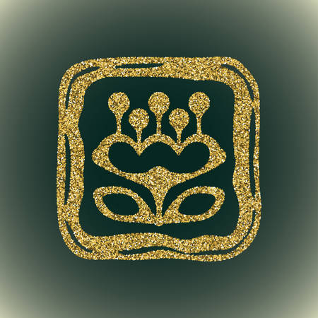 sprite: A glamour brilliant gold glitter vector symbol of flower silhouette. Elegant decorative modern floral icon in square frame of gold round sequins. A small scattering of gold circles