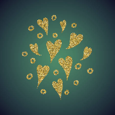 diffuse: A glamour brilliant jewelry gold glitter in the form of a hand drawn love heart symbol. Elegant decoration of gold round sequins. A small scattering of gold circles in the heart shape